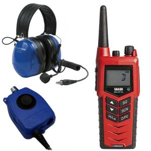 Cobham Sailor 3965 UHF Fire Fighter EX ATEX Radio + PTT + Headset Solution - SOLAS Approved